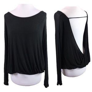 Free People Sz S Black open back knit top long slv